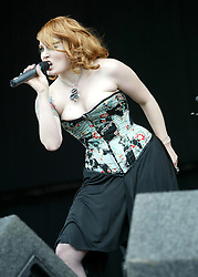 Ana Matronic, singer of the American band Scissor Sisters, play the main stage on T in the Park 2007, on stage at T in the Park Sunday 8 July, 2007, at Balado, Fife, wearing a tartan cloth...