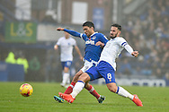 Portsmouth Midfielder, Danny Rose (4) and Mansfield Town Midfielder, Chris Clements (8) during the EFL Sky Bet League 2 match between Portsmouth and Mansfield Town at Fratton Park, Portsmouth, England on 12 November 2016. Photo by Adam Rivers.