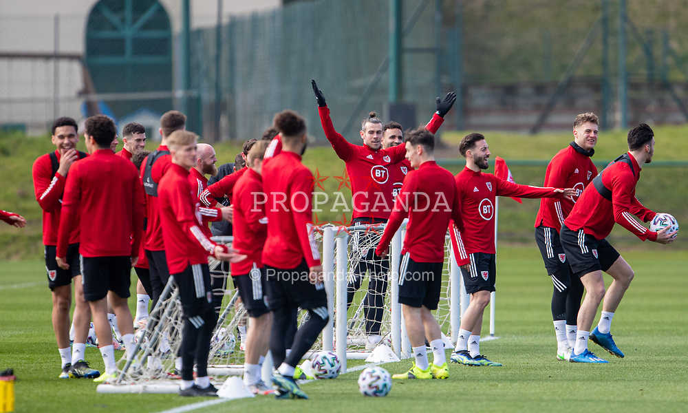 CARDIFF, WALES - Tuesday, March 23, 2021: Wales' captain Gareth Bale celebrates during a training session at the Vale Resort ahead of the FIFA World Cup Qatar 2022 Qualifying game against Belgium. (Pic by David Rawcliffe/Propaganda)