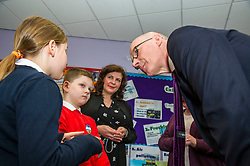 Pictured: John Swinney met Barbara Pulawska (10), Jakub Rybarczyk (9) from Bowhouse Primary School,  Rhona Jay, service manager and Lynda McDonald Head teacher at Bowhouse primary school<br /> Education Secretary  John Swinney visited Grangemouth High School library today to launch the second round of bidding for a national funding programme aimed at improving school library services. <br /> <br /> <br /> Ger Harley | EEm 16 April 2018