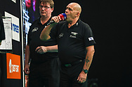 Darts referee Russ Bray during the Unibet Premier League Play-Offs at the Ricoh Arena, Coventry, England on 15 October 2020.