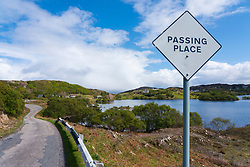 Single track road and passing place at Stoer on the North Coast 500 scenic driving route in northern Scotland, UK