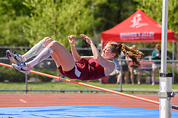 Hanover junior Anna Stafford clears the high jump bar during the NHIAA Division II track and field championship at UNH on Saturday, May 25, 2019.  (Alan MacRae/Valley News)