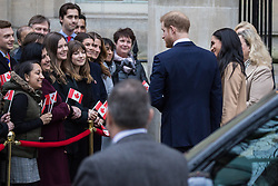 """London, UK. 7 January, 2020. The Duke and Duchess of Sussex arrive at Canada House in Trafalgar Square to thank the High Commissioner for the """"warm hospitality"""" and support received by them during a six-week sabbatical in Canada over Thanksgiving and Christmas."""