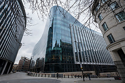 © Licensed to London News Pictures. 24/03/2021. LONDON, UK.  The exterior of the new international headquarters of Goldman Sachs, the investment bank, at Shoe Lane in the City of London.  It has been reported that first year employees are working 95-hour working weeks, including during the pandemic whilst working from home, with sickness and burnout becoming commonplace.  Photo credit: Stephen Chung/LNP