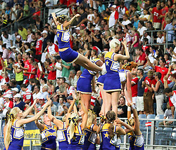 13.07.2011, UPC Arena, Graz, AUT, American Football WM 2011, Group B, Austria (AUT) vs France (FRA), im Bild stunt from the cheerleader // during the American Football World Championship 2011 Group B game, Austria vs France, at UPC Arena, Graz, 2011-07-13, EXPA Pictures © 2011, PhotoCredit: EXPA/ T. Haumer