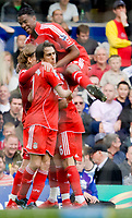 BIRMINGHAM, ENGLAND - Saturday, April 26, 2008: Liverpool's players celebrate Yossi Benayoun's equaliser, to level the scores at 2-2 during the FA Premier League match against Birmingham City at St Andrew's. (Photo by David Rawcliffe/Propaganda)