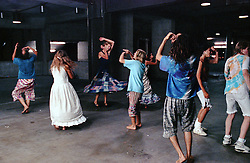 Spinners dancing and twirling in the hallway. Giants Stadium at the Grateful Dead Concert, 9 July 1989