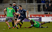 Harlequins prop Kyle Sinkler  clings on to Sale Sharks full back Luke James during a Gallagher Premiership match won by Sale Sharks 27-17 at the AJ Bell Stadium, Eccles, Greater Manchester, United Kingdom, Friday, April 5, 2019. (Steve Flynn/Image of Sport)