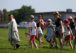 General view of kids arriving during Kids Carnival Day of The Qatar Airways May Racing Carnival at Warwick Racecourse.