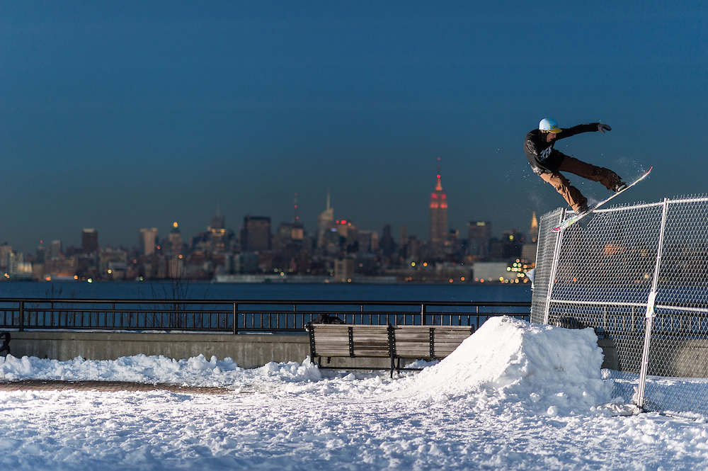 Pat MIlbery shot of ZooYork Snowboards at Liberty Park in New York, New York.