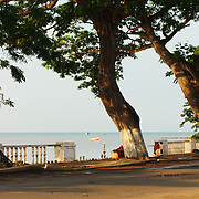 The seafront avenue that runs along the city of São tomé, viewing the Ana Chaves Bay