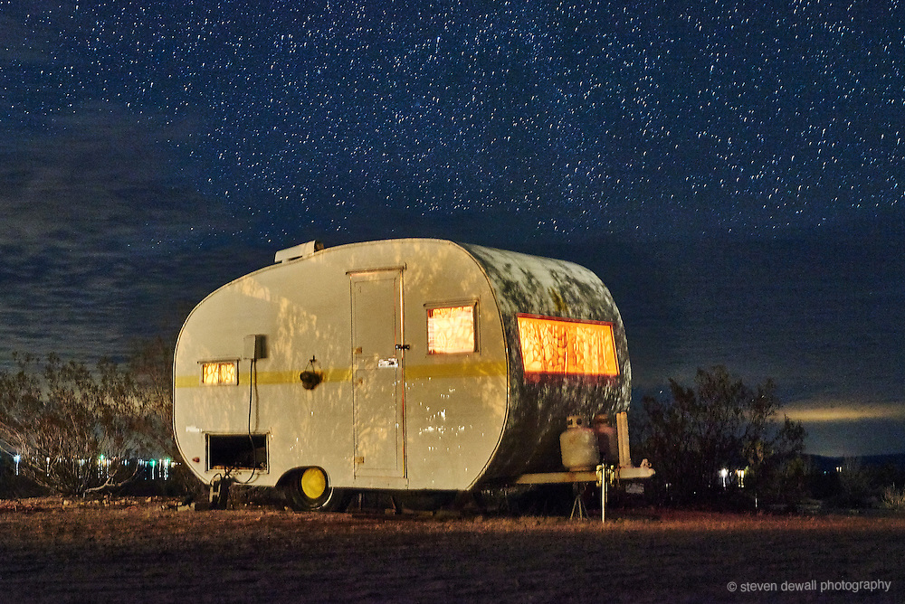 Vintage camper trailer in Joshua Tree