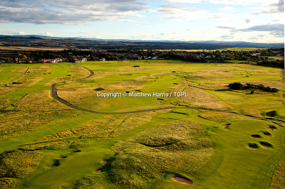 Aerial view foreground left: 13th par 3 right; 12th par 4 middle: 14th par 4 top left: 18th par 4 Muirfield,The Honourable Company Of Edinburgh Golfers,Gullane,East Lothian,Scotland.Venue for the 2013 Open Championship,with Ernie ELS (RSA) defending his title,and who was also the winner here in 2002.