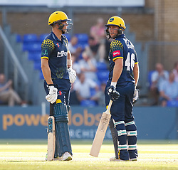 Glamorgan's Chris Cooke with team-mate Craig Meschede<br /> <br /> Photographer Simon King/Replay Images<br /> <br /> Vitality Blast T20 - Round 8 - Glamorgan v Gloucestershire - Friday 3rd August 2018 - Sophia Gardens - Cardiff<br /> <br /> World Copyright © Replay Images . All rights reserved. info@replayimages.co.uk - http://replayimages.co.uk
