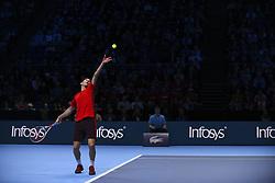 November 13, 2017 - London, United Kingdom - Dominic Thiem of Austria in his Singles match against Grigor Dimitrov of Bulgaria during day two of the Nitto ATP World Tour Finals at O2 Arena, London on November 13, 2017. (Credit Image: © Alberto Pezzali/NurPhoto via ZUMA Press)