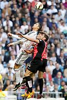Real Madrid's Cristiano Ronaldo (l) and Almeria's Angel Trujillo (c) and Sebastian Dubarbier during La Liga match. April 29,2015. (ALTERPHOTOS/Acero)