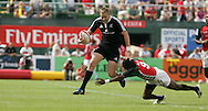 Action from the 2008-2009 opening event in the IRB World sevens series, the Emirates Airline Dubai Sevens 2008 tournament at the new Sevens Stadium in Dubai on 28th/29th November 2008. Kenya v New Zealand