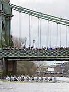 Putney - Chiswick, London,  Great Britain.<br /> Both Crews approaching Hammersmith Bridge,<br /> 2016 University Boat Race, Oxford vs Cambridge, Putney. Putney  to Mortlake, Championship Course. River Thames.<br /> <br /> Sunday  27/03/2016 <br /> <br /> [Mandatory Credit; Peter SPURRIER/Intersport-images]
