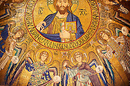 Byzantine mosaics at the Palatine Chapel ( Capella Palatina ) Norman Palace Palermo, Sicily, Italy. Christ in the ceiling dome with the angels. .<br /> <br /> If you prefer you can also buy from our ALAMY PHOTO LIBRARY  Collection visit : https://www.alamy.com/portfolio/paul-williams-funkystock/byzantine-art-antiquities.html . Type -    Palatine     - into the LOWER SEARCH WITHIN GALLERY box. Refine search by adding background colour, place, museum etc<br /> <br /> Visit our BYZANTINE MOSAIC PHOTO COLLECTION for more   photos  to download or buy as prints https://funkystock.photoshelter.com/gallery-collection/Roman-Byzantine-Art-Artefacts-Antiquities-Historic-Sites-Pictures-Images-of/C0000lW_87AclrOk