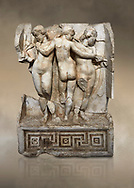 Roman Sebasteion relief  sculpture of the Three Graces, Aphrodisias Museum, Aphrodisias, Turkey.  Against an art background.<br /> <br /> The Three Graces stand in their familiar hellenistic composition. They were handmaids of Aphrodite and appeared in this form on the decoration of her cult statue at Aphrodisias. Their names evoked their character: Euphrosyne (joy), Aglaia (Splendour) and Thaleia (Bloom). .<br /> <br /> If you prefer to buy from our ALAMY STOCK LIBRARY page at https://www.alamy.com/portfolio/paul-williams-funkystock/greco-roman-sculptures.html . Type -    Aphrodisias     - into LOWER SEARCH WITHIN GALLERY box - Refine search by adding a subject, place, background colour, museum etc.<br /> <br /> Visit our ROMAN WORLD PHOTO COLLECTIONS for more photos to download or buy as wall art prints https://funkystock.photoshelter.com/gallery-collection/The-Romans-Art-Artefacts-Antiquities-Historic-Sites-Pictures-Images/C0000r2uLJJo9_s0