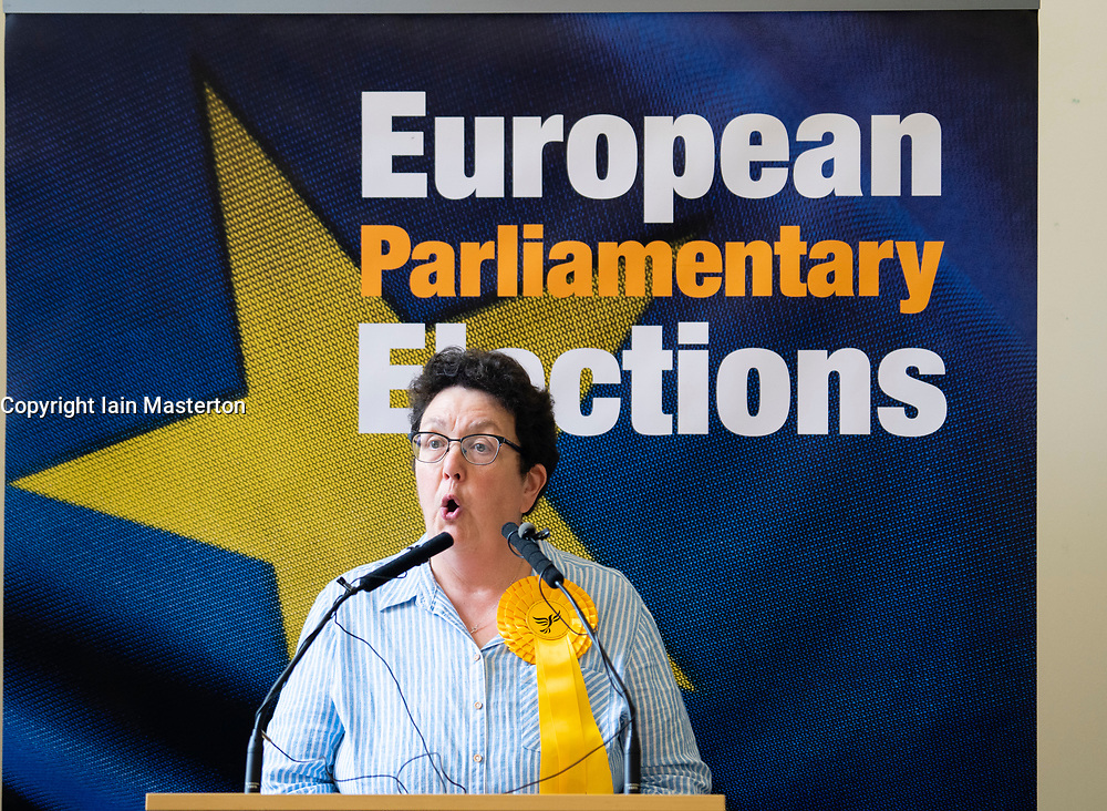 Edinburgh, Scotland, UK. 27 May, 2019. The six new Scottish MEPs are declared at the City Chambers in Edinburgh, SNP's Alyn Smith, Christian Allard and Aileen McLeod, Louis Stedman-Bruce from the Brexit Party, Sheila Ritchie of the Liberal Democrats and Baroness Nosheena Mobarik of the Conservatives. Pictured Sheila Ritchie MEP