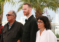 Directors Abbas Kiarostami, Joachim Trier and Daniela Thomas at the photo call for the Cinéfondation at the 67th Cannes Film Festival, Thursday 22nd May 2014, Cannes, France.
