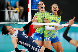 Iza Mlakar and Sasa Planinsec of Slovenia celebrate during the volleyball match between National team of Slovenia and China in Preliminary Round of Womens U23 World Championship 2017, on September 12, 2017 in SRC Stozice, Ljubljana, Slovenia. Photo by Morgan Kristan / Sportida
