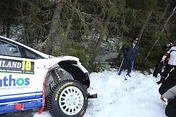 12.02.2015, Raga, Karlstad, SWE, FIA, WRC, Schweden Rallye, im Bild Michael Solowow (M-Sport World Rallye Team/Fiesta RS WRC)<br /> looks at his Car after Crash // during the WRC Sweden Rallye at the Raga in Karlstad, Sweden on 2015/02/12. EXPA Pictures © 2015, PhotoCredit: EXPA/ Eibner-Pressefoto/ Bermel<br /> <br /> *****ATTENTION - OUT of GER*****