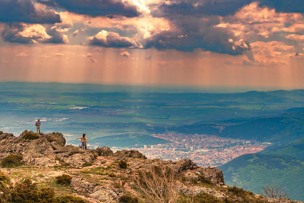 View from Karandila peak above town of Sliven