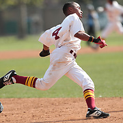 Pasadena City College's Aryonis Harrison runs to third base in a game against Cerritos City College on Thursday, March 5, 2020 in Pasadena, Calif.