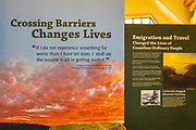 Interpretive display at the Donner Memorial State Park visitor center, Truckee, California USA
