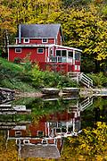 Rustic lakeside house on Lake Agawam , Stockbridge, Massachusetts, USA.