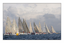 Racing at the Bell Lawrie Yachting Series in Tarbert Loch Fyne ..The first day's inshore races...The IRC Class two start, the most competitive fleet was recalled three times..