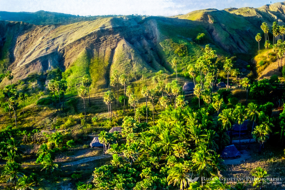 Pulau Sawu, East Nusa Tenggara. Small huts on the southern coast of Sawu (from helicopter). Savu is an island which is situated midway between Sumba and Roti, west of Timor, in Indonesia's eastern province.