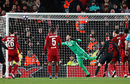 Saul Niguez of Atletico Madrid heads into the net in the last second before it is ruled out for offside during the UEFA Champions League match at Anfield, Liverpool. Picture date: 11th March 2020. Picture credit should read: Darren Staples/Sportimage