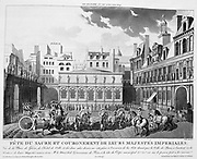 Celebrations marking the cornation of Napoleon I and Empress Josephine, 2 December 1804, Paris.  Engraving.