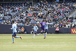 March 17, 2018 - New York, New York, United States - Yoshimar Yotun (19) of Orlando City SC and Yangel Herrera (30) of NYC FC fight for ball during regular MLS game at Yankee stadium NYC FC won 2 - 0  (Credit Image: © Lev Radin/Pacific Press via ZUMA Wire)