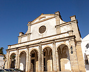 Sixteenth century historic building, Igreja do Espírito Santo, Church of the Holy Spirit, City of Evora, Alto Alentejo, Portugal, Southern Europe built in 1566 by Jesuits as the basis for Evora university. The church follows the model of the Jesuit Church of Gesù in Rome, and has served as a model for many other Jesuit churches around the world