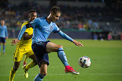November 5, 2017 - Bronx, New York, U.S - New York City FC defender ANDRAZ STRUNA (32) controls the ball against Columbus Crew forward OLA KAMARA (11) during leg 2 of the Eastern Conference Semifinal at Yankee Stadium, Bronx, NY.  NYCFC defeats Columbus Crew 2-0.  Columbus wins 4-3 on aggregate. (Credit Image: © Mark Smith via ZUMA Wire)
