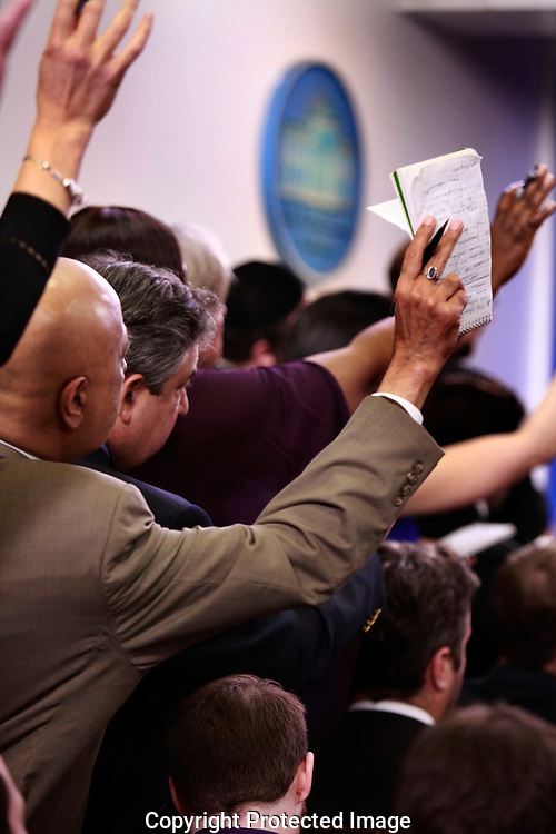 Reporters attempting to be reconized for a question at the daily press briefing by press secretary Sean Spicer in the White House press briefing room on February 23,2017<br /> <br /> Photo by Dennis Brack