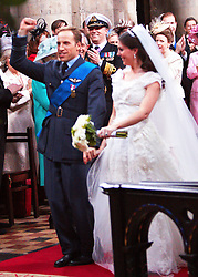 STRICT EMBARGO TO 00:01 FRIDAY 15 APRIL 2011 © licensed to London News Pictures. LONDON, UK  12/04/11.Katherine Middleton and Prince William. The filming of a new T-Mobile advert in which Kate Middleton and Prince William lookalikes pretend to get married at a mock royal wedding. The filming took place at St Bartholomew the Great Church in London. All the main royal family members and the Arch Bishop of Canterbury were played by actors. The actors danced down the aisle with moves choreographed by Louie SpencePlease see special instructions. Photo credit should read Cliff Hide/LNP.