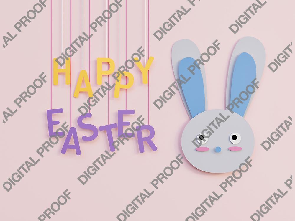 Easter Bunny minimalism happy easter celebration concept - 3D Rendering Concept