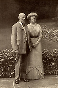 George Cadbury (1839-1922) with his wife Elizabeth in 1913 at the time of their Silver Wedding.  English Quaker industrialist and social reformer who, with his brother Richard, took over their father's chocolate business in 1861.  In 1866 they were the first in Britain to sell cocoa as a drink.  In 1879 the firm moved to Bournville, Birmingham.  From 'The Life of George Cadbury' by AG Gardiner (London, 1923).
