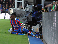 Football - 2019 / 2020 Premier League - Crystal Palace vs. Manchester City<br /> <br /> Wilfried Zaha of Palace after being puled into touch, at Selhurst Park.<br /> <br /> COLORSPORT/ANDREW COWIE