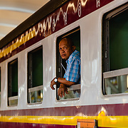 Passenger on train at Hua Lamphong station