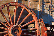 Wagon wheel at the Harmony Borax Works, Death Valley National Park. California