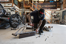 Billy Lane working with his 1912 Model-8A Harley-Davidson 30.50 c.i. motor in his shop. Ormond Beach,FL Monday, March 16, 2015.  Photography ©2015 Michael Lichter.
