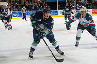 KELOWNA, CANADA - APRIL 25: Leif Mattson #28 of the Kelowna Rockets checks Donovan Neuls #19 of the Seattle Thunderbirds on April 25, 2017 at Prospera Place in Kelowna, British Columbia, Canada.  (Photo by Marissa Baecker/Shoot the Breeze)  *** Local Caption ***