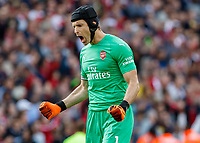 Football - 2018 / 2019 Premier League - Arsenal vs. West Ham United<br /> <br /> Petr Cech (Arsenal FC) celebrates after Arsenal score their 3rd goal at The Emirates.<br /> <br /> COLORSPORT/DANIEL BEARHAM